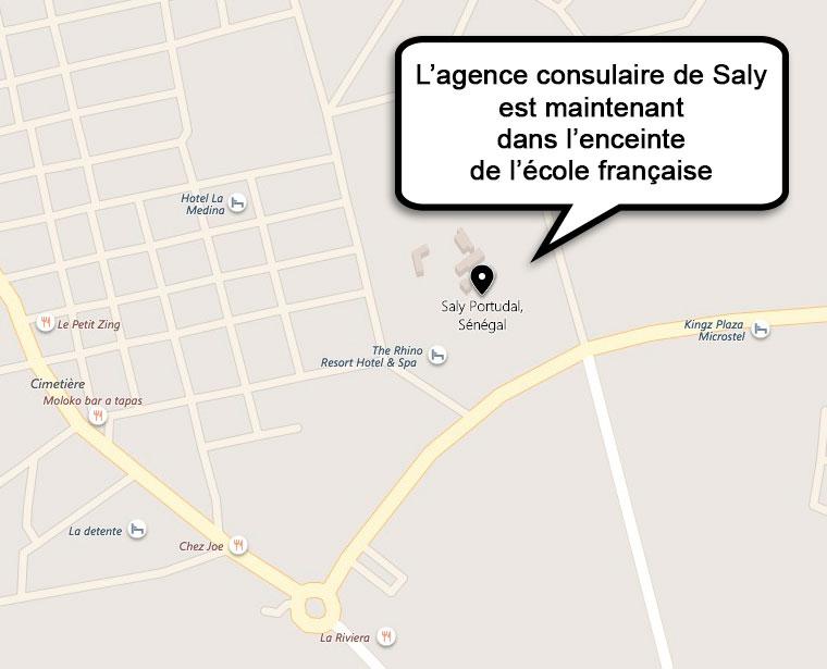 Géo-localisation agence consulaire de Saly